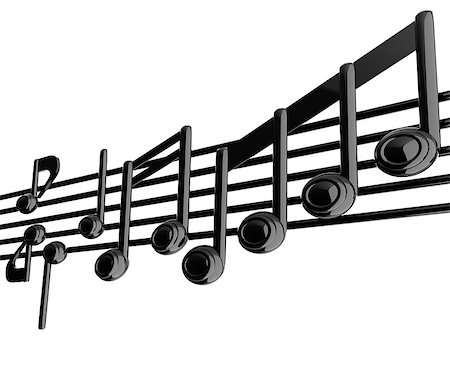 Various music notes on stave. Black 3d Stock Photo - Budget Royalty-Free & Subscription, Code: 400-07986634