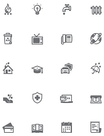 education loan - Set of the bills to pay related icons Stock Photo - Budget Royalty-Free & Subscription, Code: 400-07986729