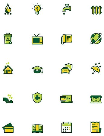 education loan - Set of the bills to pay related icons. Colors separated on different layers for ability to quickly change colors Stock Photo - Budget Royalty-Free & Subscription, Code: 400-07986730