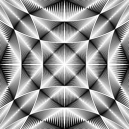 simsearch:400-04476890,k - Design warped trellised pattern. Abstract geometric monochrome background. Vector art. No gradient Stock Photo - Budget Royalty-Free & Subscription, Code: 400-07987600