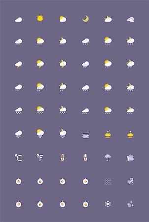 Set of the weather related icons Stock Photo - Budget Royalty-Free & Subscription, Code: 400-07989621
