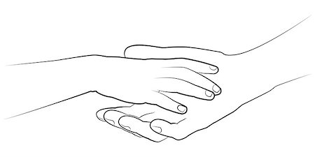 pzromashka (artist) - Man's hand holding a child's palm. Vector monochrome drawing Stock Photo - Budget Royalty-Free & Subscription, Code: 400-07980218