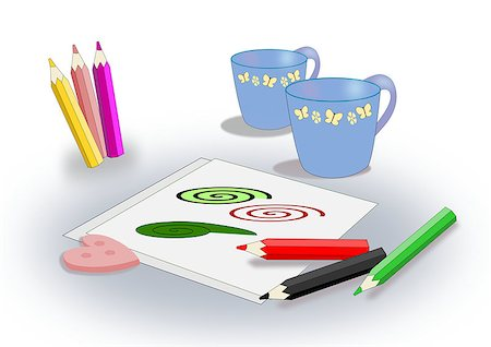 Two cups, some sheets and some colored pencils. Stock Photo - Budget Royalty-Free & Subscription, Code: 400-07980627