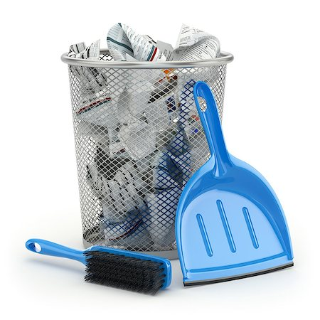 Cleaning concept.Garbage bin, dustpan or scoop and brush. 3d Stock Photo - Budget Royalty-Free & Subscription, Code: 400-07980798