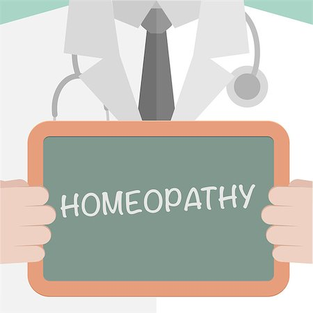 minimalistic illustration of a doctor holding a blackboard with homeopathy text, eps10 vector Stock Photo - Budget Royalty-Free & Subscription, Code: 400-07981631