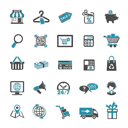 Internet Shopping Icon Set for e-commerce in two color Stock Photo - Budget Royalty-Free & Subscription, Code: 400-07982660