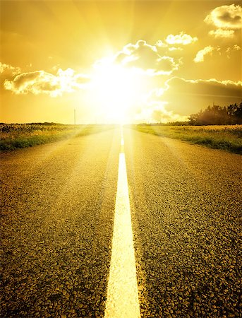 road landscape - Asphalted road to the bright yellow sun Stock Photo - Budget Royalty-Free & Subscription, Code: 400-07983327