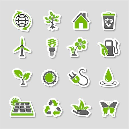 Collect Environment Icons Sticker Set with Tree, Leaf, Light Bulb, Recycling Symbol. Vector in two colours. Stock Photo - Budget Royalty-Free & Subscription, Code: 400-07983618