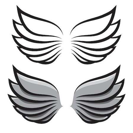 pzromashka (artist) - vector set. two pairs of wings. Black and colored Stock Photo - Budget Royalty-Free & Subscription, Code: 400-07983702