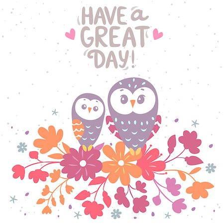 illustration cartoon cute owls sitting on a flowers with place for text Stock Photo - Budget Royalty-Free & Subscription, Code: 400-07995476