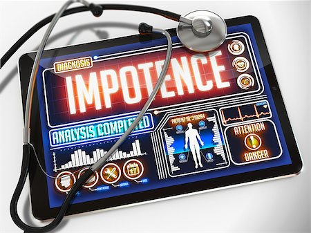 Impotence - Diagnosis on the Display of Medical Tablet and a Black Stethoscope on White Background. Stock Photo - Budget Royalty-Free & Subscription, Code: 400-07996652