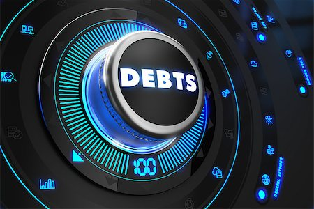 Debts Button with Glowing Blue Lights on Black Console. Stock Photo - Budget Royalty-Free & Subscription, Code: 400-07997322