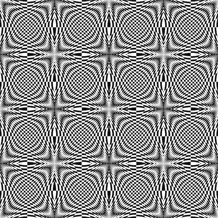 simsearch:400-04476890,k - Design seamless monochrome illusion checkered background. Abstract torsion pattern. Vector art. No gradient Stock Photo - Budget Royalty-Free & Subscription, Code: 400-07990305