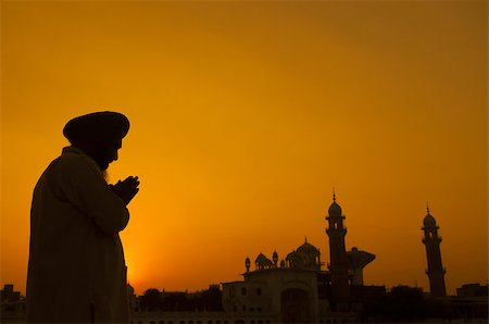 punjabi - Silhouette of Sikh prayer at temple, Amritsar, India Stock Photo - Budget Royalty-Free & Subscription, Code: 400-07990367