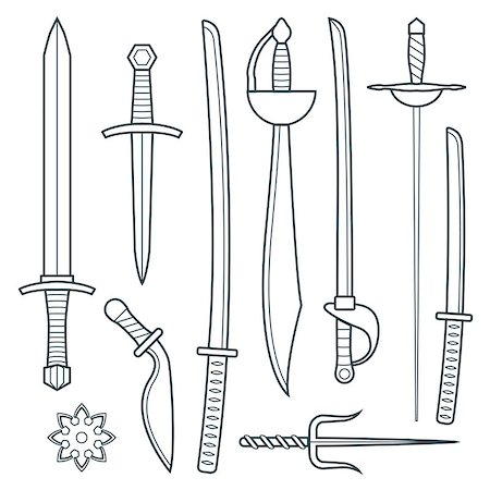 stencils - vector dark gray outline cold medieval weapons set with ax axe hammer mace halberd battle poleax Stock Photo - Budget Royalty-Free & Subscription, Code: 400-08014187