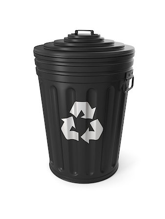 Black trash can isolated on white background Stock Photo - Budget Royalty-Free & Subscription, Code: 400-08015983