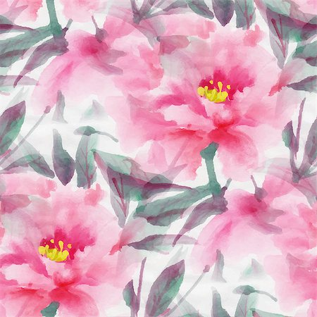 peony illustrations - Seamless pattern with watercolor flowers.  Pink peony.  Vector illustration. Stock Photo - Budget Royalty-Free & Subscription, Code: 400-08016870