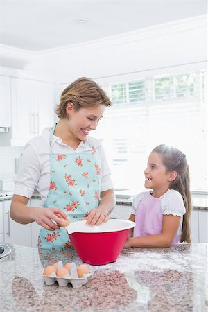 Mother and daughter baking together at home in kitchen Stock Photo - Budget Royalty-Free & Subscription, Code: 400-08019932