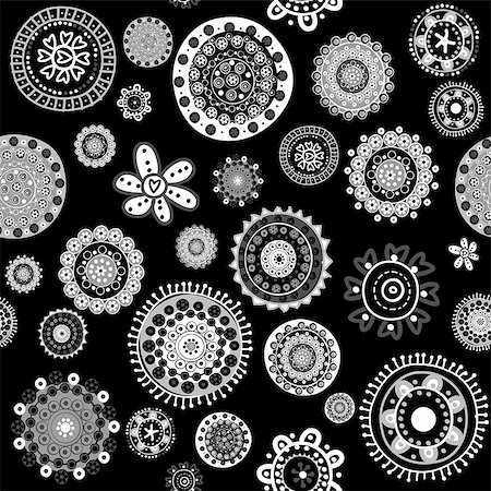 White doodle flowers over black background seamless pattern Stock Photo - Budget Royalty-Free & Subscription, Code: 400-08013057