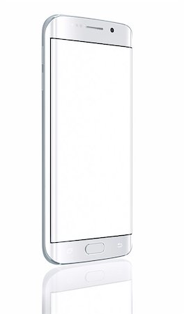 Smartphone edge with blank screen on white background Stock Photo - Budget Royalty-Free & Subscription, Code: 400-08020649