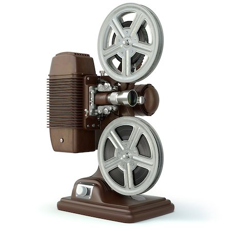 Vintage film movie projector isolated on white. 3d Stock Photo - Budget Royalty-Free & Subscription, Code: 400-08021079