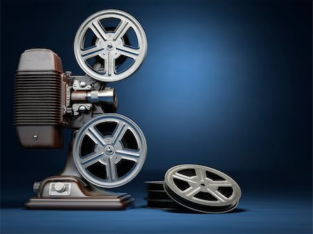 Video, cinema concept. Vintage film movie projector and reels on blue background. 3d Stock Photo - Budget Royalty-Free & Subscription, Code: 400-08021071