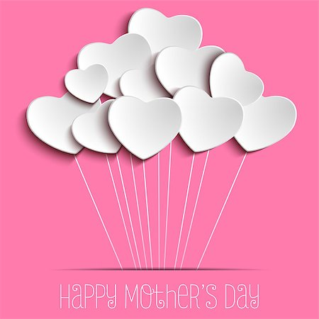 Vector - Happy Mother Day Heart Background Stock Photo - Budget Royalty-Free & Subscription, Code: 400-08021502