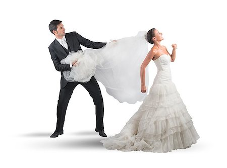 running away scared - Husband pulls the veil to the bride Stock Photo - Budget Royalty-Free & Subscription, Code: 400-08035044