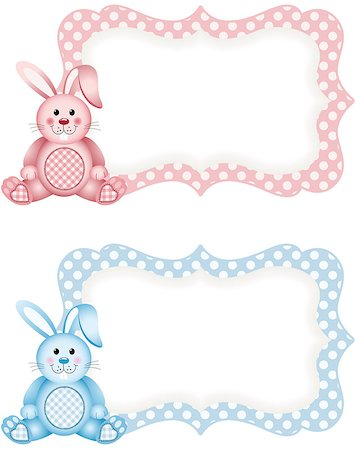 Scalable vectorial image representing a baby bunny pink and blue tag label, isolated on white. Stock Photo - Budget Royalty-Free & Subscription, Code: 400-08035973