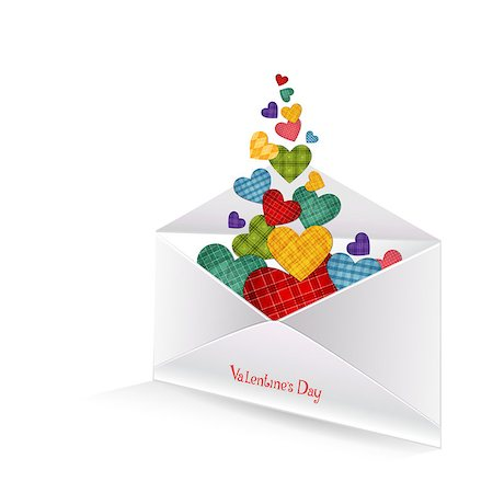 simsearch:400-04863562,k - Vector illustration of colored hearts in the envelope on white background Stock Photo - Budget Royalty-Free & Subscription, Code: 400-08036754