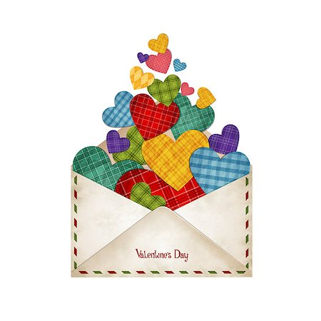 simsearch:400-04863562,k - Vector illustration of colored hearts in the envelope Stock Photo - Budget Royalty-Free & Subscription, Code: 400-08036756