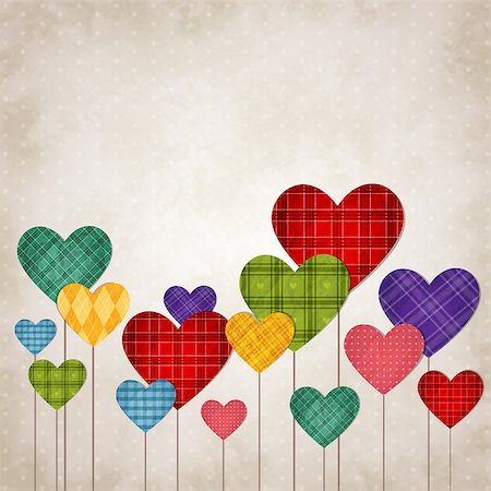 simsearch:400-04863562,k - Vector illustration of colorful beautiful hearts in vintage style Stock Photo - Budget Royalty-Free & Subscription, Code: 400-08036759