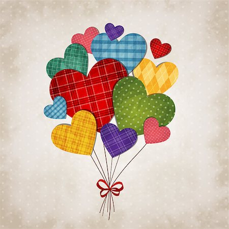 simsearch:400-04863562,k - Vector illustration of romantic hearts on vintage background Stock Photo - Budget Royalty-Free & Subscription, Code: 400-08036763