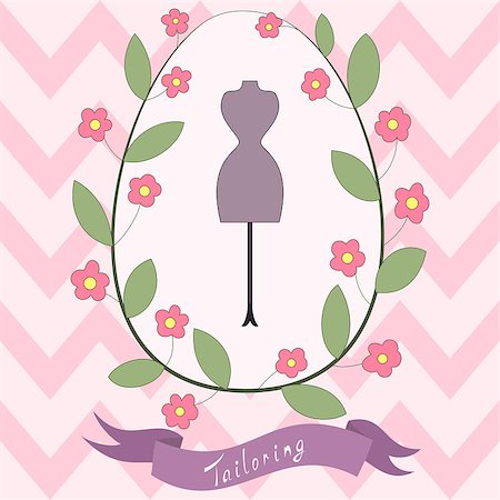 simsearch:400-04096935,k - Bright floral card with cute cartoon tailoring emblem with mannequin and floral wreath and banner with hand drawn inscription. Fashion and tailoring flyer design Stock Photo - Budget Royalty-Free & Subscription, Code: 400-08038018