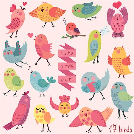simsearch:400-04399778,k - Cute funny cartoon birds set. Vector illustration Stock Photo - Budget Royalty-Free & Subscription, Code: 400-08038095