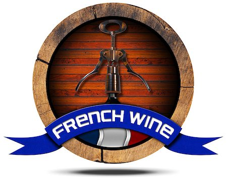 Icon or symbol with wooden barrel, French flag, corkscrew and bottle, blue ribbon with text French Wine. Isolated on white background Stock Photo - Budget Royalty-Free & Subscription, Code: 400-08039947