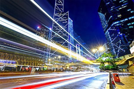night traffic in the hong kong city Stock Photo - Budget Royalty-Free & Subscription, Code: 400-08032140