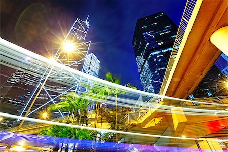 night busy traffic in the hong kong downtown city Stock Photo - Budget Royalty-Free & Subscription, Code: 400-08032143