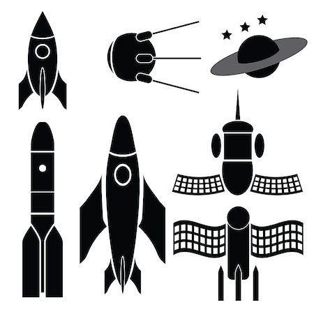 illustration  with space ships silhouettes on white background Stock Photo - Budget Royalty-Free & Subscription, Code: 400-08032164