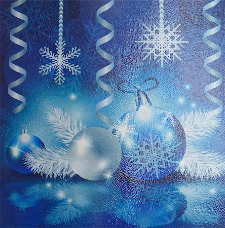 Christmas collage on fluted glass. Snowflakes, balls, streamers. Stock Photo - Budget Royalty-Free & Subscription, Code: 400-08033146