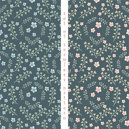 set of seamless pattern  with abstract leaf and flower Stock Photo - Budget Royalty-Free & Subscription, Code: 400-08044321