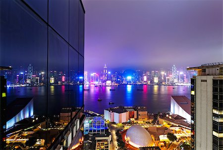 Hong Kong night, Tsim Sha Tsui urban building zone Stock Photo - Budget Royalty-Free & Subscription, Code: 400-08044337