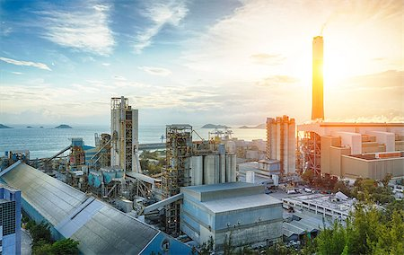 Glow light of petrochemical industry on sunset. Stock Photo - Budget Royalty-Free & Subscription, Code: 400-08045876