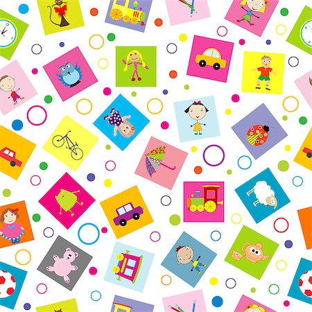 Seamless background with toys and cartoon kids Stock Photo - Budget Royalty-Free & Subscription, Code: 400-08045979