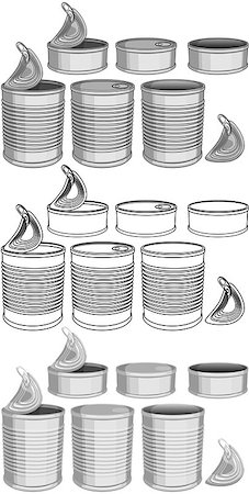 Vector illustration pack of various canned food cans color and lineart. Stock Photo - Budget Royalty-Free & Subscription, Code: 400-08046766