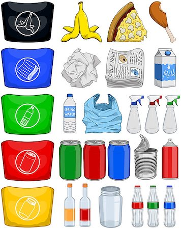 Vector illustration pack of organic paper plastic aluminium and glass items for recycling. Stock Photo - Budget Royalty-Free & Subscription, Code: 400-08046770