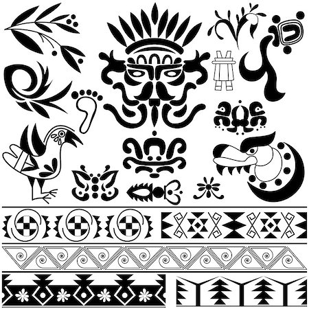 Vector of set of ancient American ornaments on white Stock Photo - Budget Royalty-Free & Subscription, Code: 400-08047087