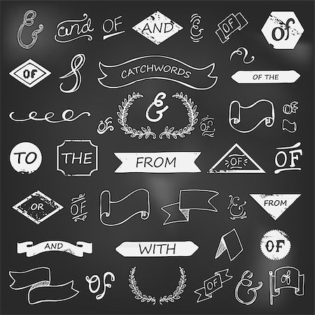 hand-lettered ampersands and catchwords on chalkboard Stock Photo - Budget Royalty-Free & Subscription, Code: 400-08047160