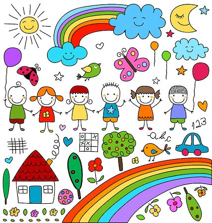 kids, clouds, sun, rainbow.., child like drawings elements set Stock Photo - Budget Royalty-Free & Subscription, Code: 400-08047276