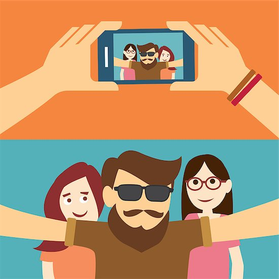 taking a selfie photo flat design Stock Photo - Royalty-Free, Artist: kaisorn, Image code: 400-08047334